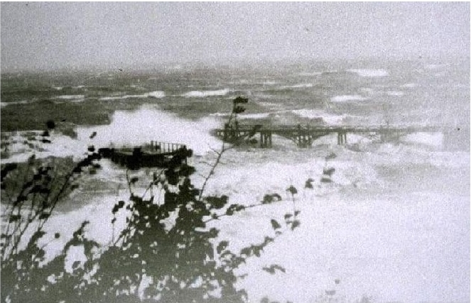 Carradale 1858 pier in a gale in 1949